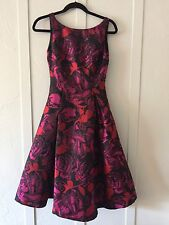 Adrianna Papell Occasions Pink Floral Wedding Ball Gown Dress Sleeveless Sz 2