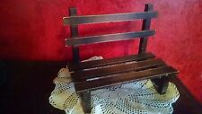 Doll Bear Miniature Furniture VTG Wood Bench Slatted Seat & Back 2-Seater