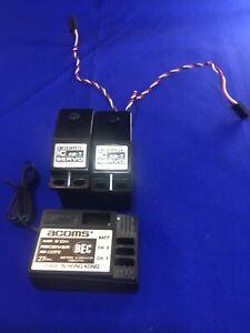Acoms Vintage Ar227fe Receiver As7 Servos Vvgc Working Rc Car Boat Radio Gear