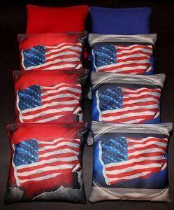 Patriotic USA American Flag Red and Blue 8 ACA Regulation Cornhole bags B17
