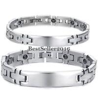 Men Women Stainless Steel Magnetic Therapy Cross Link Bracelet Hematite Bangle