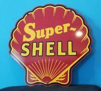 VINTAGE SUPER SHELL GASOLINE RED PORCELAIN GAS SERVICE STATION PUMP PLATE SIGN