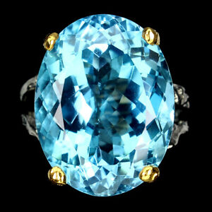 Handmade 100% Natural Oval Sky Blue Topaz 23ct 925 Sterling Silver Ring Size 8.5