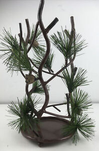"""Plow And Hearth Rustic Woodland Pine Pillar Candle Holder 11.5"""" X 5"""" No Glass"""