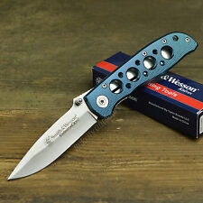 Smith & Wesson Extreme Ops 7Cr17 Plain Edge Blue Handle Tactical Knife CK105BL