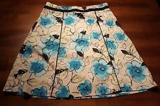 Tangents Ivory with Blue & Black Floral Pattern A-Line skirt size 3/4