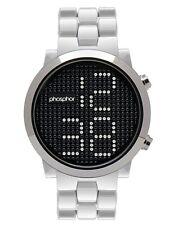 Phosphor Appear Swarovski Silver Crystals Mechanic Digital Watch MD013G ORIGINAL