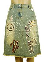 NEW! Stone Wash Blue Denim Sparkly Sequin Vintage Look Knee Length Skirt 8 10 12
