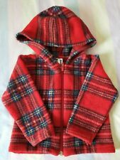 Baby red check soft zip fleece with hood Glen Appin 12 months