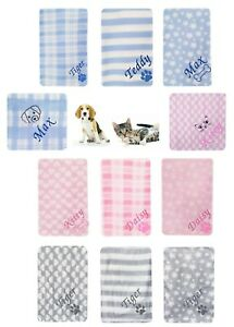 Personalised Dog Puppy Pet Blanket Kitten Cat Any Name Bed Pink Blue Grey Gift