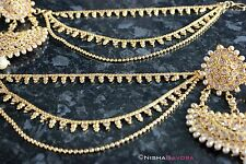 Gold Ear Chain Saharey Chediya Heavy Earrings Lifter Earchains Indian Chain