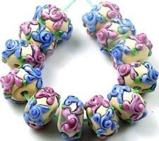 """Lampwork Handmade Glass Rondelle Beads """"Primrose Flower"""" I (12)"""