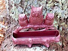 Wall Letter or Match Holder w Owls on a Log Design Hard Plastic Vintage