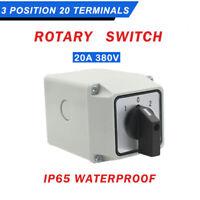 Hauptschalter Schalter IP65 5 Pole Kunststoff Gehäuse Einbau 20AMP 3 Position