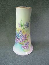Antique Pl Limoges France painted flowers & leaves porcelain hat pin holder #1