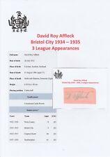 David Affleck Bristol City 1934-1935 RARA Originale Firmato a Mano Taglio/Card