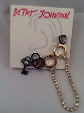 BETSEY JOHNSON Black & Gold-Tone Handcuff and Stud Earring Multi-Set NWT L@@K!!!