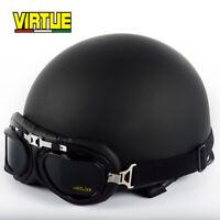 Vintage Motorcycle Helmet Half Face Unisex Motorbike Scooter Helmet w/Goggles