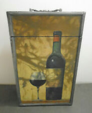 VINTAGE WINE STORAGE CARRIER BOX WITH LATCH 2 BOTTLES 14""