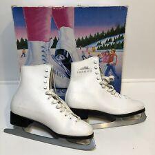 Lake Placid Figure Skates Ice Skates Womens White Leather Vintage Lace Up Size 9
