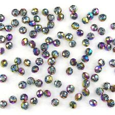 150Pcs 3x4mm metallic multi color Czech crystal faceted rondelle spacer beads