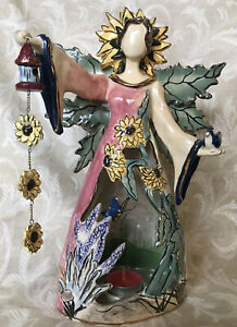 "Blue Sky Clayworks 2004 Candleholder 12"" Garden Fairy By Heather Goldminc - Rare"