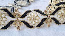 5.5cm - Negro magnífico 1 metros y granos de oro y perlas de encaje recorte para manualidades