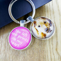 Personalised Photo Glass Keyring Cat Dog Pet Memory Loss Be Loved Present