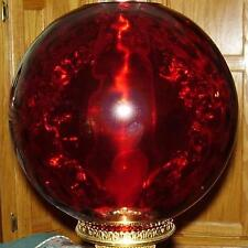 "10"" RUBY DOT OPTIC BALL SHADE 4 inch glass fits old banquet, GWTW, oil lamp"