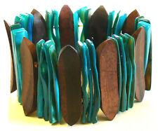 BRACELET BOIS BLEU Turquoise BIJOUX ETHNIQUE ELASTIQUE NACRE COQUILLAGE