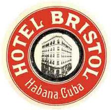 "Havana/Habana  CUBA  ""Hotel Bristol""  Vintage-Looking Travel Decal/Label/Sticker"