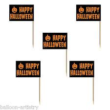 50 Happy Halloween SPOOKY NERO ARANCIONE ZUCCA FESTA BANDIERA SNACK Plettri