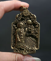 64MM Small Curio China Buddhism Bronze Shakyamuni Amitabha Buddha Wealth Pendant
