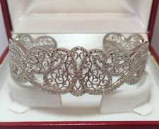 "Designer Sterling Silver Diamond Filigree Pave Cuff Bangle Estate Bracelet 7"""