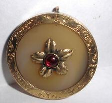 Beautiful antique Victorian 14k gold ruby cabochon pendant carnelian