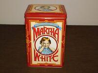 "VINTAGE KITCHEN FOOD 8 3/4"" HIGH MARTHA WHITE TIN CAN BOX  *EMPTY*"