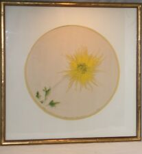 Vintage Embossed Acrylic Painted Chrysanthemum Painting Framed Signed Numbered