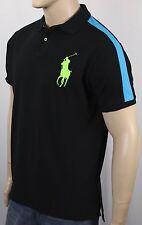 Polo Ralph Lauren Black Custom Fit Big Neon Green Pony Shirt NWT
