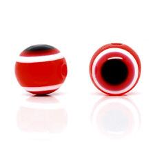 Lot 10 Perle Oeil Rouge 10mm oeil Turc, creation bijoux, bracelet, collier
