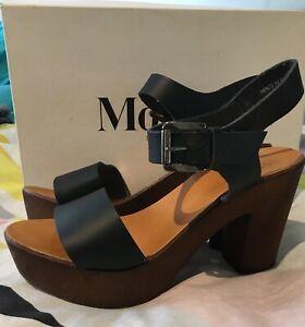 Mollini Masimo black leather platform heals. Size 38, 7
