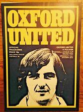 Oxford United v Fulham League Cup Match Programme - 1973-1974 Season