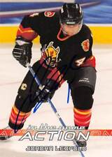 JORDAN LEOPOLD FLAMES AUTOGRAPH AUTO 03-04 IN THE GAME ACTION #48 *51882
