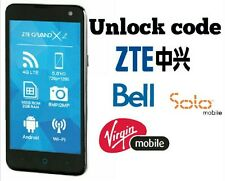Unlock code ZTE Grand X Z933 Grand x 2 Z850 Bell Virgin Solo Grand x Plus Fido