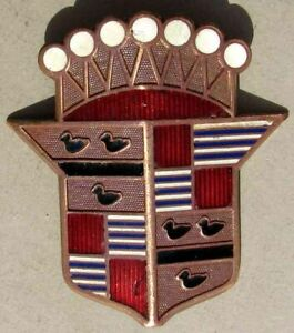 EARLY CADILLAC BRONZE and CLOISONNE' EMBLEM VERY NICE L@@K #G784
