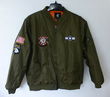 Rocawear Coat Mens Size 2XL Olive Green Patched Embroidered Bomber Jacket New