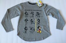 New listing Disney Mickey Mouse Youth Girls Small Gray Long Sleeve Top New 90 Years Trip