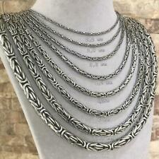 Solid 925 Sterling King Byzantine Round Silver Chain Necklace For Men All Sizes