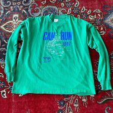 Vintage 80s Can Run Marathon Shirt XL Long Sleeve Green Race Nike Portland OR