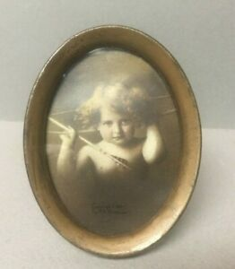 VINTAGE 1897 Small Antique Brass Oval Portrait Picture Frame 3.5 X 2.75