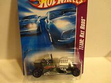 2008 Hot Wheels #125 Flat Green T-Bucket w/5 Spoke Wheels Silver Engine
